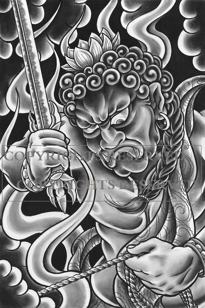 Fudo MyoO 5x7 Post Card Print 009 a Folsom City Ink Tattoos